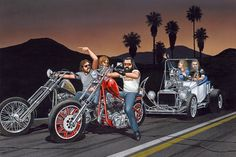 David Mann —  Bikers Towing Hotrod (800x533)