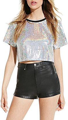 506f94c3001 Haoduoyi Womens Silver Holographic Sequin T Shirt crop Tops(XL
