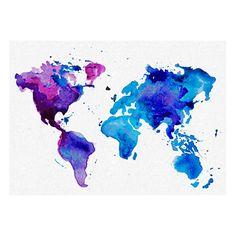 Toile imprimée aquarelle carte du monde  bleu et multicolore  50 x 2,5 x 70 cm