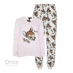 Details about PRIMARK Ladies DISNEY BAMBI Cosy Fleece Jumper Pyjama Set PJ's