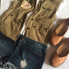 Casual Summer Outfit Outfit sold as a whole ($45) or each piece separately. NWOT Cute cargo vest, size M ($25). NWOT Authentic Mexican artisanal huaraches, size 7 ($25). Used in good condition Denim cut-off shorts, Miley Max Azria size 17 juniors ($10). Shorts Jean Shorts
