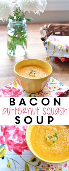 This soup is incredible! The bacon in this soup gives it a smoky taste, and the butternut squash is very creamy, despite it having NO dairy.