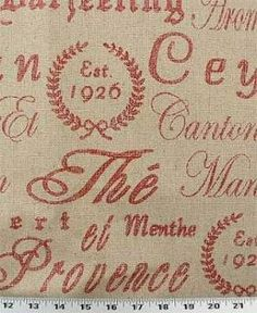 Drapery Upholstery Fabric French Script on Rustic Linen