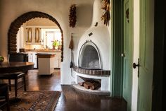 A kiva fireplace in the breakfast room of an 1878 adobe home in Lincoln, N. M.