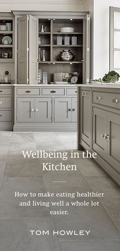 It's more important than ever to consider our environment and promote wellbeing, especially in areas such as the kitchen. A space that has likely become a busy hub of the home. If you're unsure of where to make changes we've put together a few tips that will help make eating healthier and living well a whole lot easier. New Kitchen, Kitchen Ideas, Kitchen Design, Tom Howley, Grey Painted Kitchen, Bespoke Kitchens, Colour Pallete, Island Design, Shaker Style