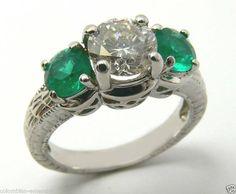 Colombian Emerald Diamond 3-Stone Ring 2.07cts. $6,000.00, via Etsy.