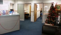 Reception looking festive ! Offices, Festive, Reception, Christmas Tree, Shapes, Holiday Decor, Home Decor, Teal Christmas Tree, Decoration Home