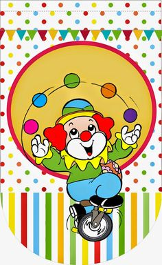 El Circo: Imágenes e Imprimibles Gratis para Fiestas. Carnival Themed Party, Circus Theme, Circus Party, Party Themes, Guppies, Clown Party, Send In The Clowns, 2nd Birthday Parties, Various Artists