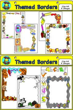 Themed Frames / borders  This pack contains borders with themes which can be used for teaching or for use in your products. There are color and black and white borders in PNG format.