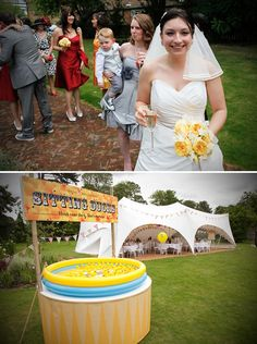 Andy and Hayley were married in July at The Malthouse, The Olde Bell, Hurley, nr Henley on Thames. They wanted their wedding to be fun, with a 1950s carnival theme. Think hook and duck table plan, popcorn, balloons, yellow and red, stripey straws and moustaches... ekkk!