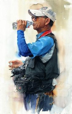 By Misulbu Atelier - South Korea Watercolor Portraits, Watercolour Painting, Painting & Drawing, Watercolours, Painting People, Figure Painting, Pastel, Guache, Traditional Paintings