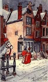 Sint Nicolaas in de sneeuw.