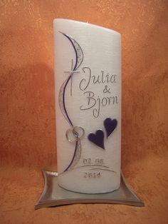 Für die besonderen Momente im Leben: Taufe, Kommunion, Hochzeit, Geburtstag oder Jubiläum!  eine sehr schöne Hochzeitskerze  mit einer Perlmutt-Struktur moderne Gestaltung in den Farben...