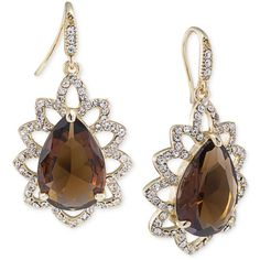 Carolee Gold-Tone Brown Crystal Teardrop Earrings ($80) ❤ liked on Polyvore featuring jewelry, earrings, brown, teardrop shaped earrings, tear drop earrings, crystal jewellery, carolee earrings and goldtone jewelry