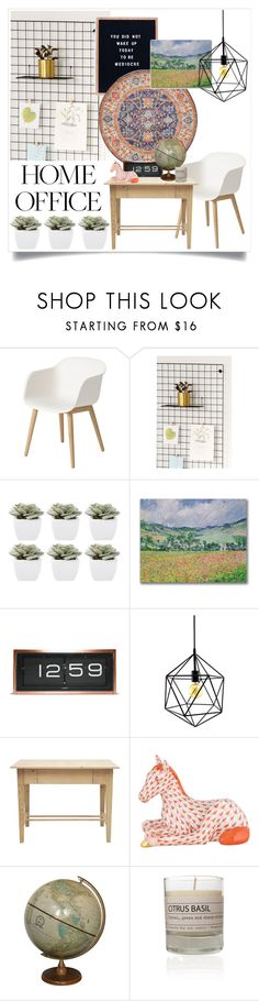 """""""Home Office: Modern Eclectic"""" by musicislife-983 ❤ liked on Polyvore featuring interior, interiors, interior design, home, home decor, interior decorating, Muuto, Urban Outfitters, Abigail Ahern and Trademark Fine Art"""