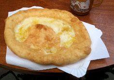 Hungarian Langosch (potato dough with a kind of sour cream and cheese), had that for lunch today! Greasy but so yummy!