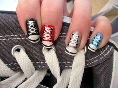 Converse Sneaker Nail Art Do It Yourself Nails, How To Do Nails, Fun Nails, Pretty Nails, Crazy Nails, Nail Art Designs, Acrylic Nail Designs, Acrylic Nails, Nails Design