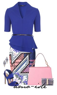 """Bright Blue"" by amo-iste ❤ liked on Polyvore featuring Mary Katrantzou, Office, MICHAEL Michael Kors, Kate Spade and Kendra Scott"