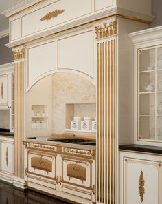 Now also the classic luxury kitchens in classic furniture Vimercati: three handmade and handcarved collections, with flower decorations and gold leaf details