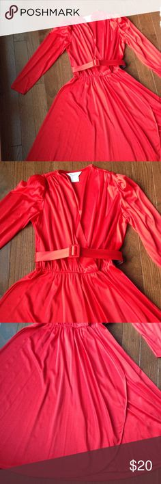 Ladies Vintage Faux Wrap Red Dress 43 inches long, faux wrap, long sleeve, belt can be worn or not, no belt loops, pads in the shoulder to poof the sleeve. Dresses