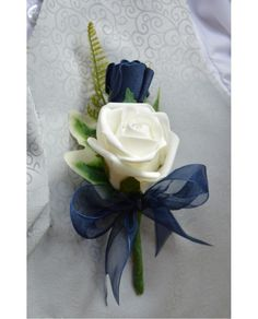 bef7b601b GROOMS Double Rose Buttonhole - Navy Blue   Ivory or White Rose Corsage