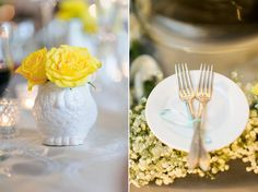 Tablescape of grey and yellow with milk glass decor at Jim and Amy's Wedding
