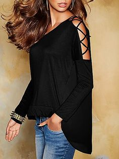 734629c21392 Shop Sexy Black Lace-up Shoulder High-low Trim Top – Discover sexy women  fashion at IVRose
