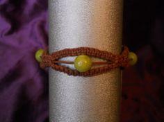 Brown Hemp Bracelet w/ Green Glass Beads by PeaceLoveNKnottyHemp, $8.00