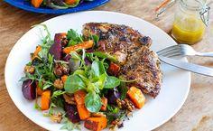 Beetroot & Pumpkin Salad with Oregano Garlic Chicken (Eat Drink Paleo) Pumpkin Salad, Paleo Dinner, Dinner Meal, Dinner Salads, Garlic Chicken, Chicken Salad, Grilled Chicken, Paleo Recipes, Paleo Food
