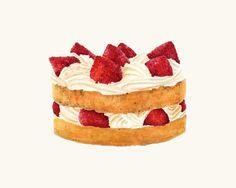 Victorian Sponge Cake  Colourful Illustration by ForestSpiritArt  Strawberry Dessert