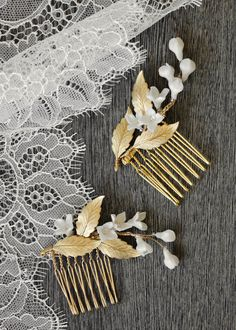 I was inspired to create some Lily of the Valley hair combs - something that beautifully captured the simplicity of tucking a few stems into a tousled updo. Bridal Braids, Bridal Tiara, Headpiece Wedding, Wedding Veils, Bridal Headpieces, Diy Wedding, Wedding Flowers, Bridal Headbands, Fascinators