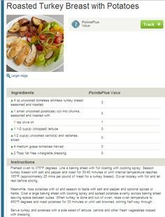 Weight Watchers Simple Start - Roasted Turkey Breast with Potatoes. People who attend meeting lose 8x more weight!