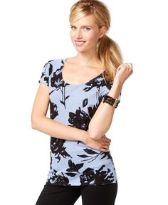 Inc International Concepts Short-Sleeve Floral-Print Sweater, Only at Macy's