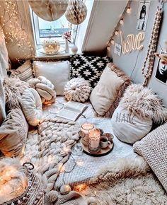 Cute Bedroom Ideas, Cute Room Decor, Room Ideas Bedroom, Book Corner Ideas Bedroom, Cozy Bedroom Decor, Cozy Teen Bedroom, Aesthetic Rooms, Stylish Home Decor, Cozy Room