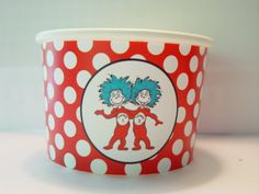 Dr. Seuss, thing one, thing 2 Cat in the hat favor cups. $9.00, via Etsy.