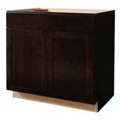 Kitchen Classics Brookton 36-in W x 35-in H x 23.75-in D Espresso Birch Shaker Sink Base Cabinet