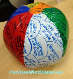 Crazy Speech World: Beach Ball Therapy! Fun and easy (and cheap) idea for speech therapy DIY! Counseling Activities, Speech Therapy Activities, Language Activities, School Counseling, Health Activities, Literacy Activities, Summer Activities, Therapy Games, Therapy Tools