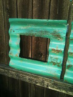 Set of 2 HANDMADE Corrugated Tin Wall FRAMES- TURQUOISE. $35.00, via Etsy.