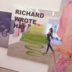 Gabé Hirschowitz admiring Peter Bonde's exhibit at MIER Gallery, West Hollywood, August 2016.