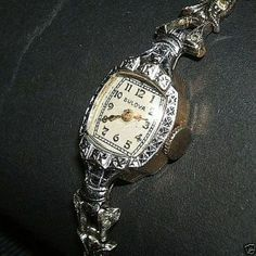 Echte 1930er Bulova Armbanduhr 10K Weiß Gold Filled Uhr Tulip Armband Sterling