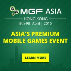 MGF Asia@Marco Polo Hong Kong Hotel, Harbour City, 3-27 Canton Road, Hong Kong, Hong Kong, On April 08 - 09, 2015 at 09:00 am - 6:00 pm. MGF is the premium mobile games event where decision-makers meet to do business. Price: Developers & Studios: FREE REGISTRATION,  MGF Conference Pass: 1200, Category: Conferences | Lifestyle, Arts & Leisure | Gaming