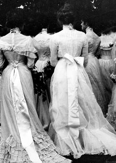 Photograph of women from the back, possibly at a wedding or debutante event(?), ca. 1901; source unknown