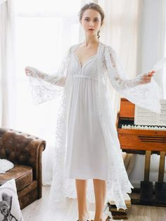 9d3e34b2bd Shein Lace Trim Night Dress With Robe  Trim Lace Shein