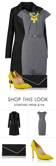 """""""~ 💕 Black, Grey & Yellow 💕 ~"""" by pretty-fashion-designs ❤ liked on Polyvore featuring Joseph, L.K.Bennett and Manolo Blahnik"""