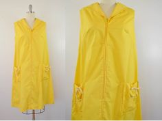 Vintage Yellow Sun Dress Navy Style Collar and Pockets 1960s Size 18 by ilovevintagestuff on Etsy