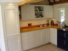 white kitchen with oak worktops - Google Search