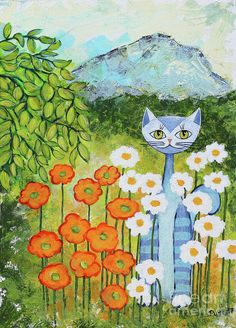 Cat Loves Nature Art Print by Jutta Maria Pusl. All prints are professionally printed, packaged, and shipped within 3 - 4 business days. Choose from multiple sizes and hundreds of frame and mat options.