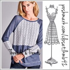Indigo French Terry Top Love this casual look. Indigo raglan French Terry top with white lace over lay detail. Size S, M, L Threads & Trends Tops