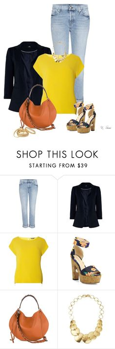 """""""Untitled #11053"""" by ksims-1 ❤ liked on Polyvore featuring 7 For All Mankind, Dorothy Perkins, Nicholas Kirkwood, Loewe, Robert Lee Morris and GUESS"""