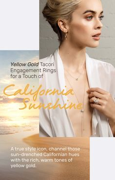 Yellow gold Tacori engagement rings with a touch of California sunshine. Tacori Engagement Rings, Yellow Gold Rings, Diamond Rings, Sunshine, Vintage Fashion, California, Touch, Style, Swag